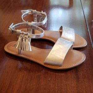 Gap Silver Tasseled Sandals